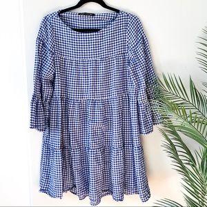 Zara   Checkered Peasant Bell Sleeve Dress